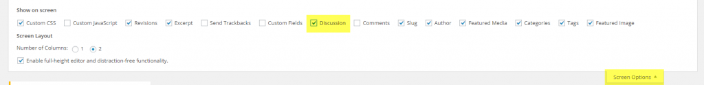 Figure 1: Enable Discussions tab from Screen Options