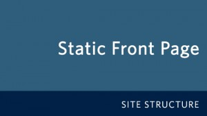 Setting up a Static Front Page