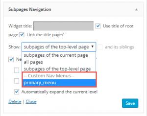 Figure 3: Custom Menu on Subpages Navigation Widget
