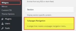 Figure 2: Subpages Navigation Widget